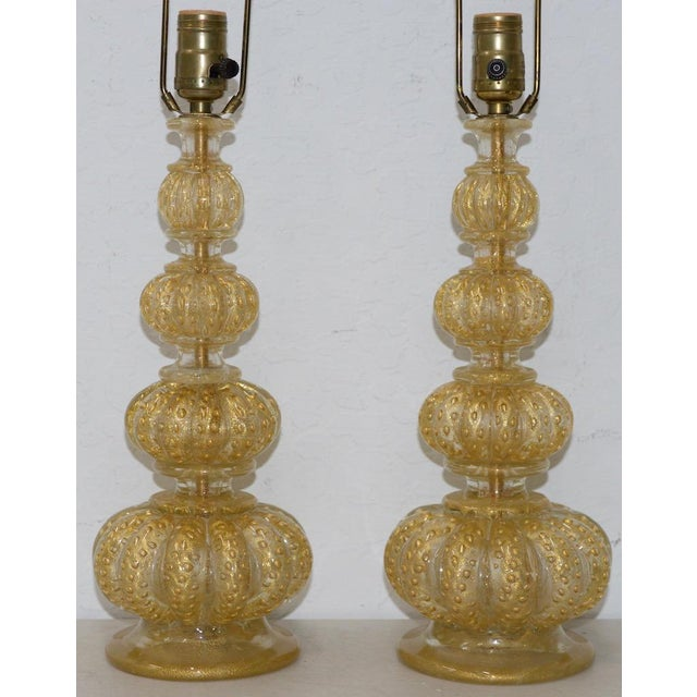 Barovier & Toso Pair of Barovier & Toso Venetian Glass Mid-Century Modern Table Lamps C.1950 For Sale - Image 4 of 8