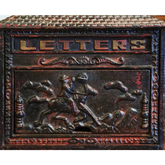 English 19th Century English Black Painted Cast Iron Wall Mailbox With Relief Decor For Sale - Image 3 of 10