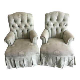 Vintage Rolled Arm Upholstered Chairs - a Pair For Sale