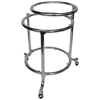 Rolling Chrome Bar Serving Cart With Chrome Rings For Sale