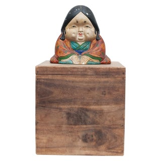 Meiji Era Otafuku Girl Figurine on Wood Stand For Sale