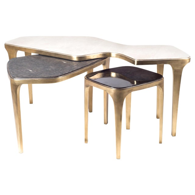 Cosmos Nesting Coffee Tables in Shagreen, Shell & Brass R&y Augousti - Set of 3 For Sale