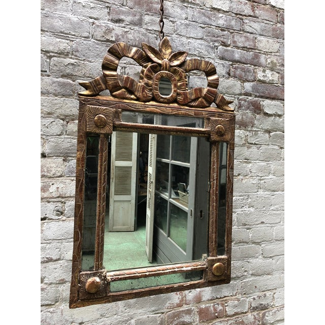 18th Century Caved Gilt Wood Smal Louis XVI Mirror For Sale - Image 6 of 8