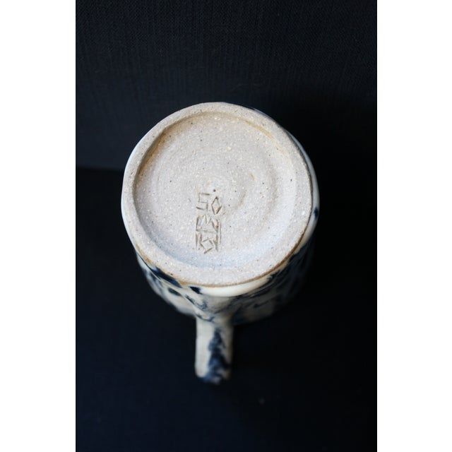 Abstract Handmade Blue & White Stoneware Pitcher For Sale - Image 10 of 11