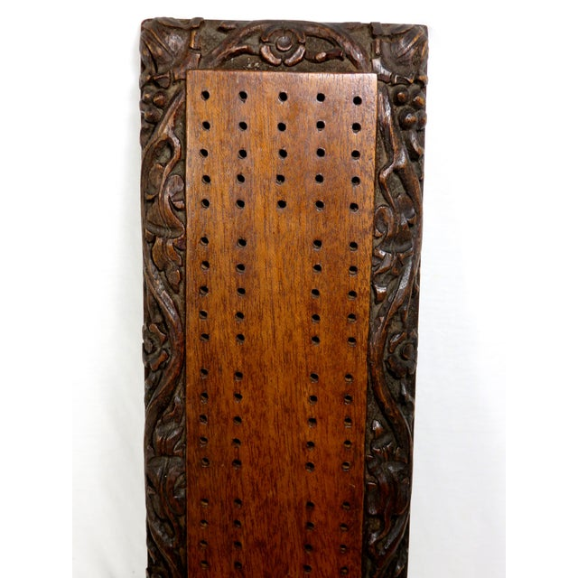 Traditional Antique Carved Mahogany Cribbage Game Board For Sale - Image 3 of 13
