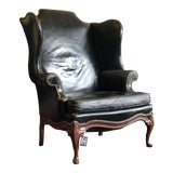 Image of Vintage Black Leather Wingback Chair For Sale