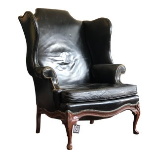 Vintage Black Leather Wingback Chair For Sale