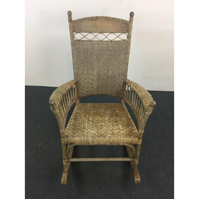 Antique Wicker & Carved Wood Rocking Chair - Image 2 of 4