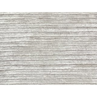 Contemporary Tone on Tone Striped Rug White (9x12) For Sale