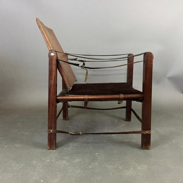 Animal Skin American Mid-Century Safari Chair, Reversible Seat Cover For Sale - Image 7 of 13