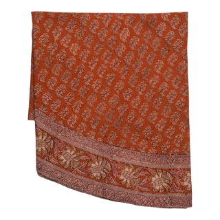 Floral Paisley Motif Round Tablecloth - Rust For Sale