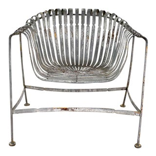 Vintage Rustic Spring Steel Fan and Roll Back Garden Chair Style of Francois Carré For Sale