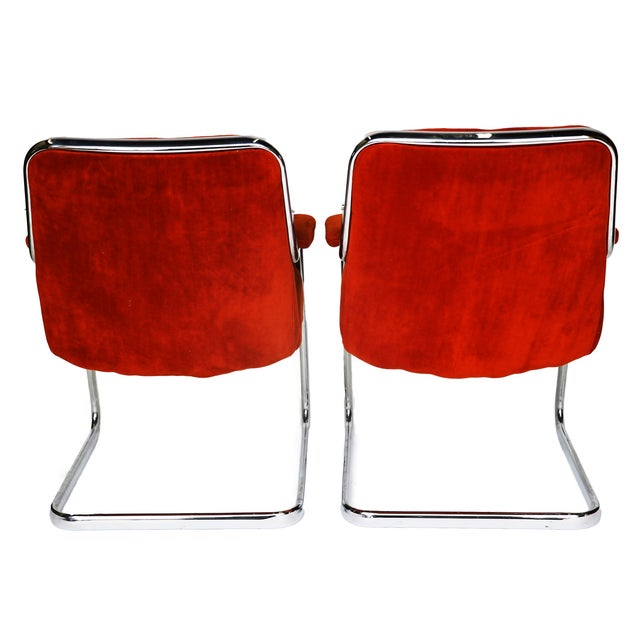 Pair Chrome Milo Baughman-Style Chairs - Image 4 of 10