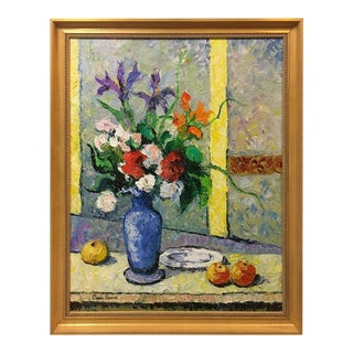 "Hughes Claude Pissarro ""Le Bouquet Au Vase Bleu"" Oil on Canvas Painting"