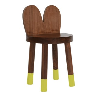 Lola Kids Chair in Walnut With Green Finish For Sale