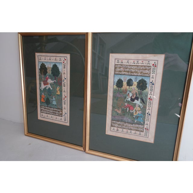 Islamic Persian Miniature Watercolors - a Pair For Sale - Image 3 of 8