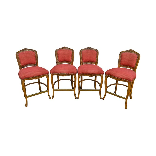 French Louis XV Style Set of 4 Bar Stools by Pama Furniture - Image 13 of 13