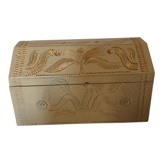 Balinese Bohemian Carved Wood Trunk For Sale