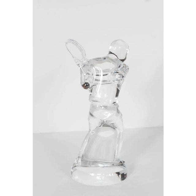 Transparent Baccarat Art Glass Male Tennis Player Crystal Figurine For Sale - Image 8 of 9
