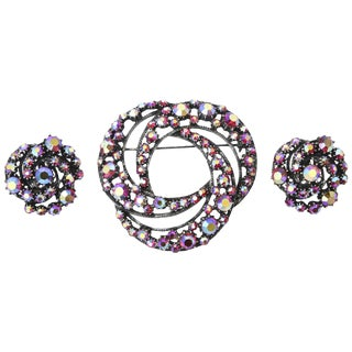 Florenza Boris Aurealis Crystal Circular Pin & Clip on Earrings Vintage For Sale