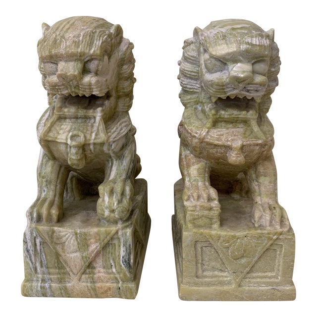 Green Stone Marble Foo Dogs Bookends - a Pair For Sale