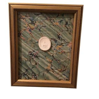 Framed Intaglio on 19th Century Marbled Paper For Sale