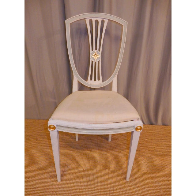 Late 19th C Painted Swedish Dining Chairs - Set of 8 For Sale - Image 4 of 9