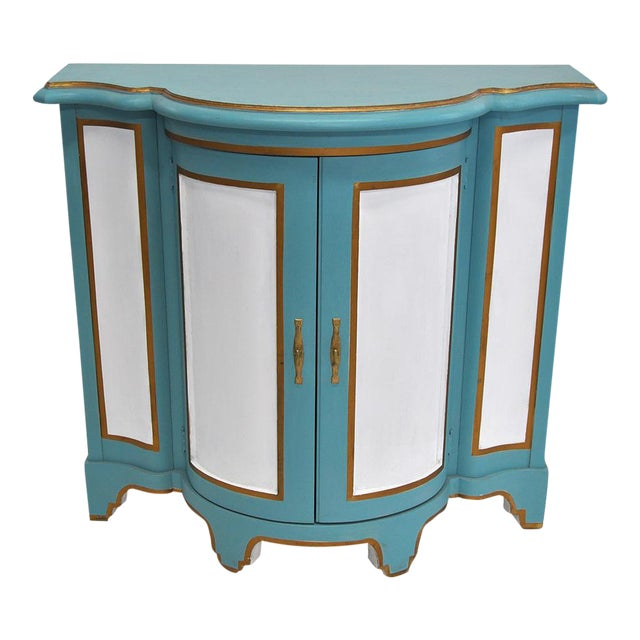 Baker-Style Demilune Cabinet For Sale