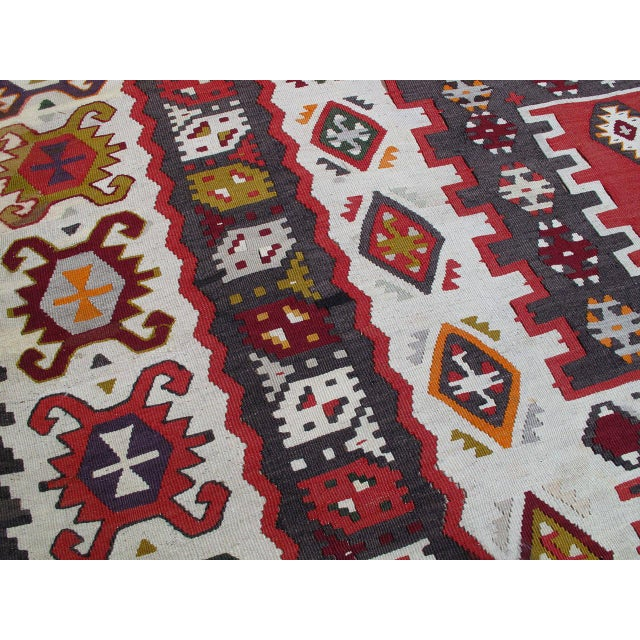 Red Balkan Kilim For Sale - Image 8 of 9
