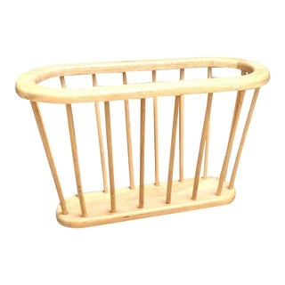 Arthur Umanoff Style Blonde Wood Spindle Magazine Holder For Sale