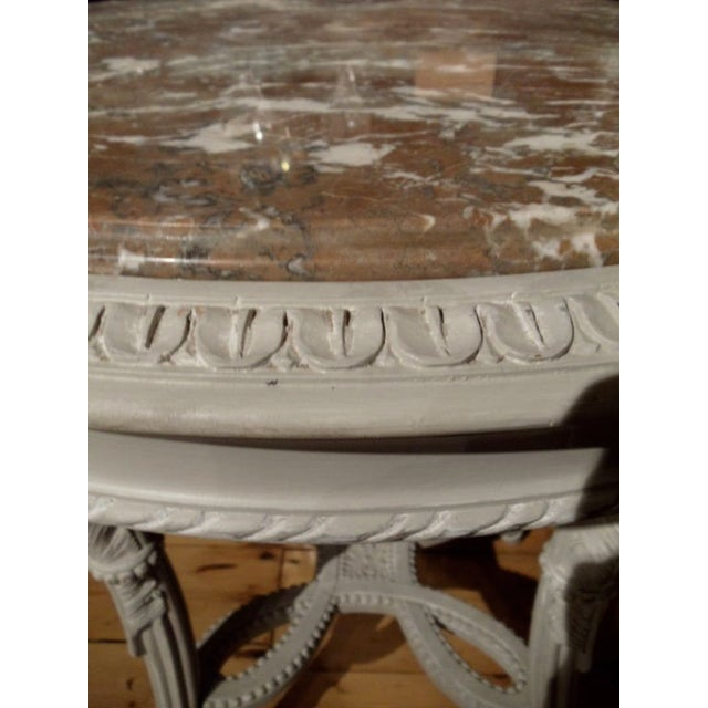 1940s Pair of Neoclassical Painted Marble Top Gueridons or End Tables For Sale - Image 5 of 9