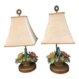 French Floral Majolica Lamps - a Pair For Sale