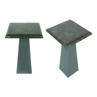 Petite Mid-Century Modern Lacquered Goatskin Side Tables- a Pair For Sale