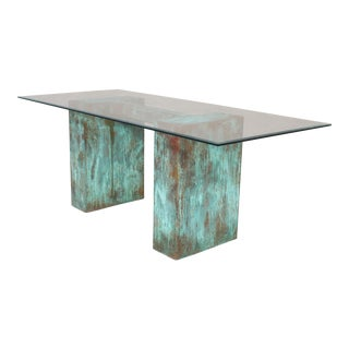Oxidized Copper and Glass Dining Table For Sale
