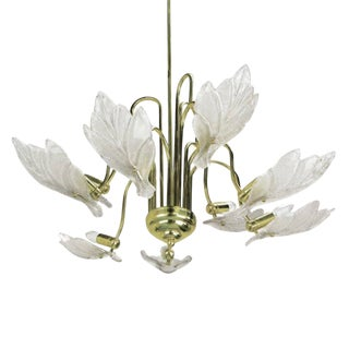 Nine-Arm Murano Glass Leaf Chandelier in the Style of Barovier & Toso For Sale