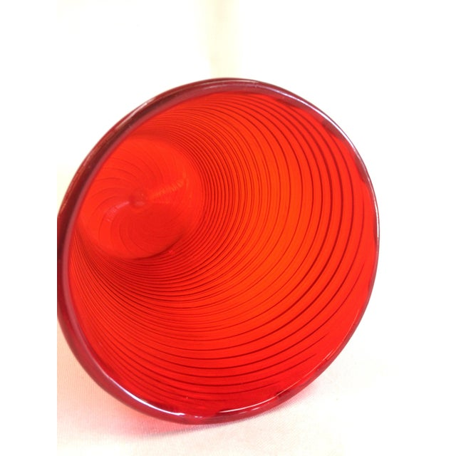 Tall Red Orange Hand Blown Glass Vase - Image 4 of 5