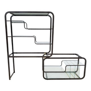 1970s Mid-Century Modern Milo Baughman Expandable Etagere Display Shelves With Faux Marble Finish For Sale