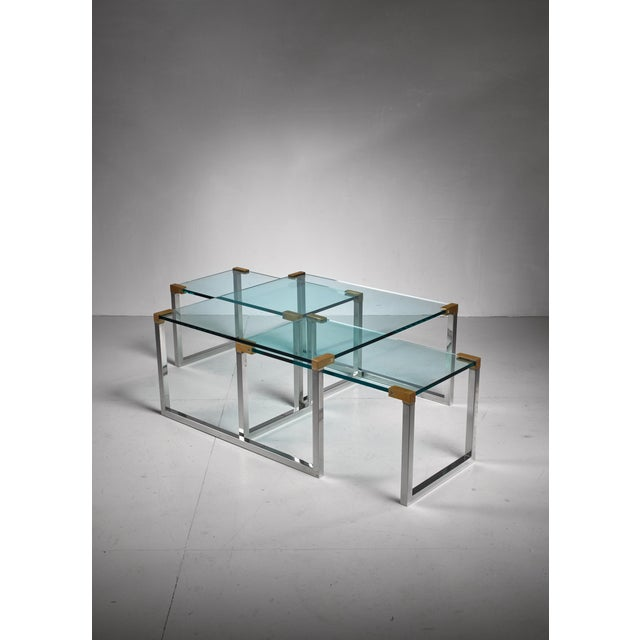 1970s Peter Ghyczy set of 3 modular glass, brass and chrome tables, Dutch, 1970s For Sale - Image 5 of 5