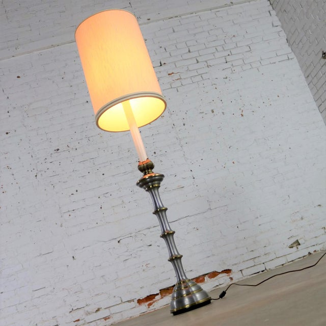 Stiffel Tall Table Lamp or Low Floor Lamp Mid Century Brass and Brushed Stainless Steel For Sale - Image 6 of 13