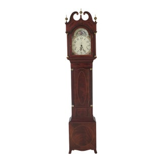 1990s Vintage Sligh Henry Ford Museum Federal Inlaid Mahogany Grandfather Clock For Sale