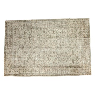 "Distressed Vintage Oushak Carpet - 7'2"" 10'8"" For Sale"