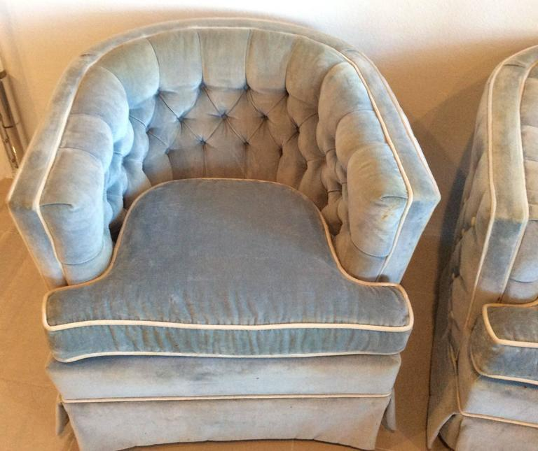 Vintage Hollywood Regency Button Tufted Barrel Tub Swivel Arm Chairs   A  Pair   Image 4