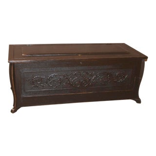 Antique Carved Distressed Black Cedar Lined Trunk For Sale