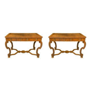Antique Consoles With Marquetry - Pair For Sale
