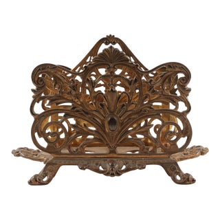 Late 19th Century Bradley & Hubbard Gilt Cast Metal Letter Rack For Sale