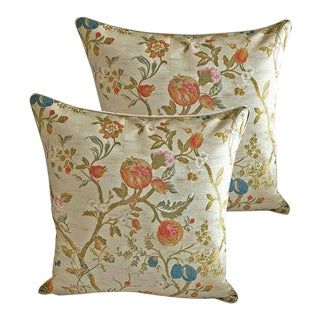Pair of Stark Scalamandre Giardino Paradisio Lampas Pillows - Down Feather Inserts Included