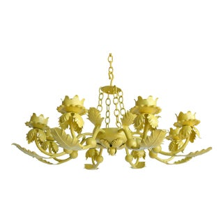 Vintage used boho chic chandeliers chairish canary yellow wrought iron chandelier aloadofball Gallery