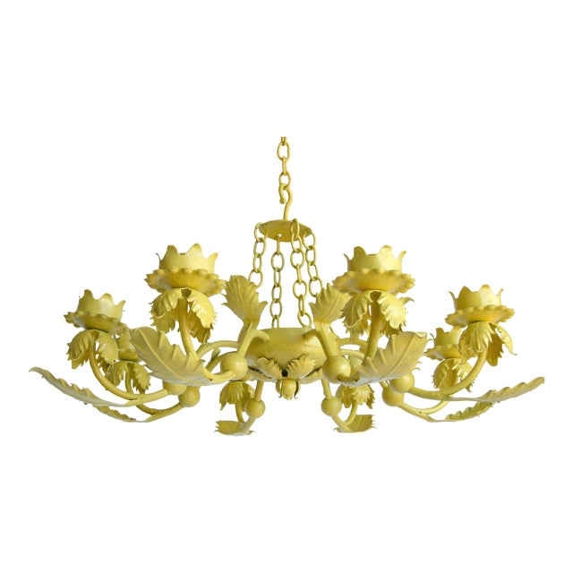 Canary Yellow Wrought Iron Chandelier For Sale
