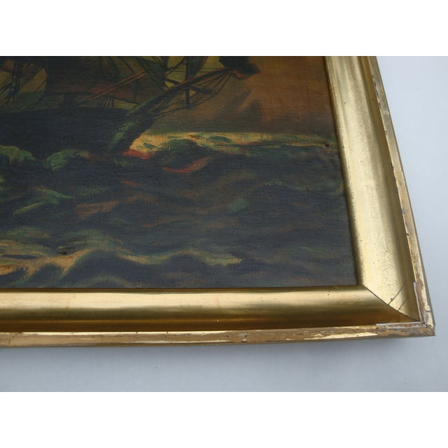 Antique Sailing Ship Oil Painting - Image 3 of 5