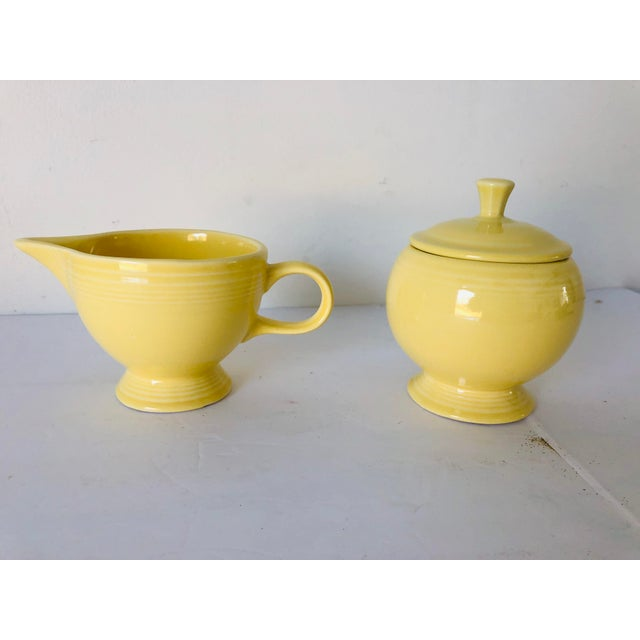 Fiesta Ware Yellow Sugar & Creamer Set Old Marks For Sale In New York - Image 6 of 6
